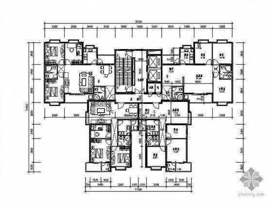 塔式高层一梯四北梯户型图(123/100)
