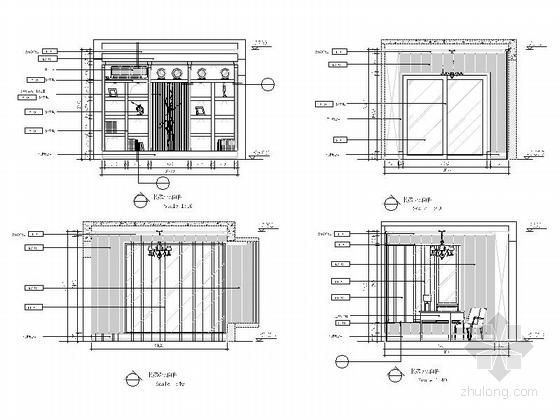 [重庆]时尚现代风格三居室室内装修施工图书房立面图