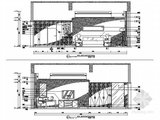 [甘肃]44平方客房设计施工立面图