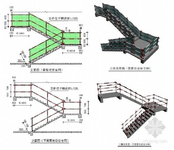 [安徽]商业楼文明施工观摩工地策划方案(多图)-楼梯安全防护