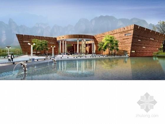 [江西]三层金属网罩复合形态旅游服务中心成图建筑设计方案文本