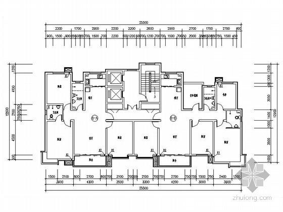 小高层住宅一梯二户型平面图(带空中花园)