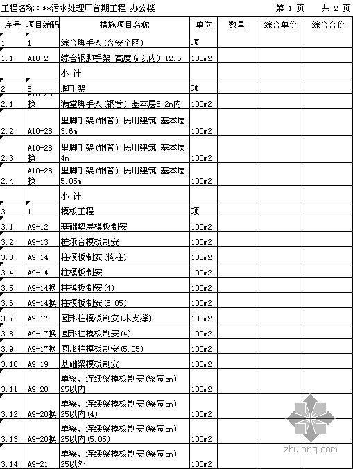 广东某污水处理厂措施清单(不含基坑支护).