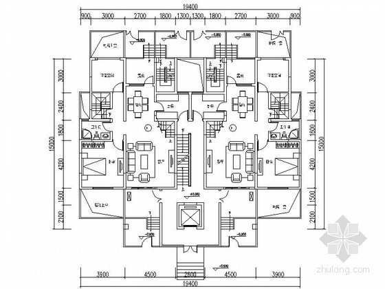 六层花园洋房户型图(153/148/204平方米)