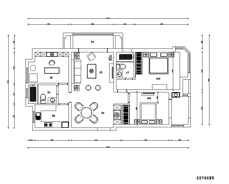 午后阳光 盛世孔雀城A户型样板房设计施工图(附效果图)