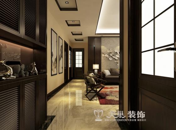 方圆经纬3室2厅120平新中式风格的装修案例——入户