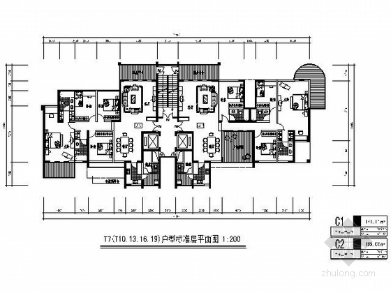 [北京]某高层二梯二高档住宅楼户型图(170、190平方米)