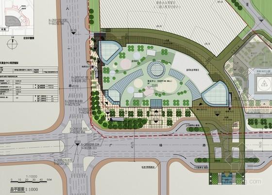 现代风格多层商业中心建筑总平面图图片