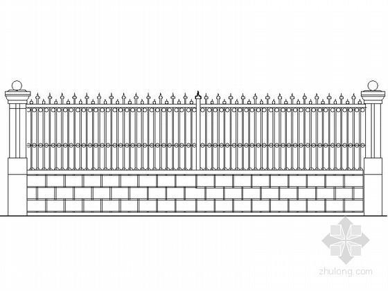 铸铁花格围墙节点详图