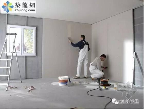 国外建筑装修工程纸面石膏板施工现场照片