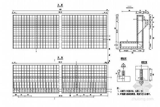 预应力混凝土栏杆详图设计资料下载-预应力混凝土T梁连续刚构桥台帽钢筋布置节点详图设计