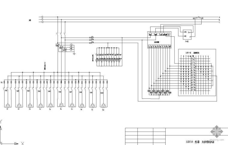 160KVA变压器无功补偿屏接线图
