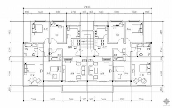 板式多层一梯两户户型图(150/150)