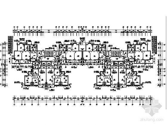 [武汉]某上城2号楼三十层塔式住宅楼建筑施工图(一梯四户)-标准层平面图