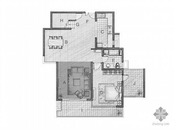 复式三室二厅户型平面图(205)