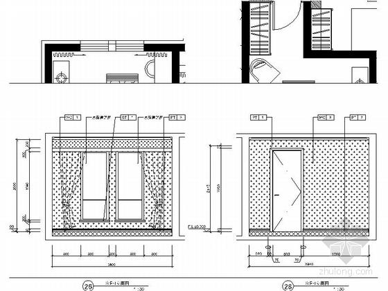 [北京]房山区现代高档四居室样板间装修施工图次卧立面图