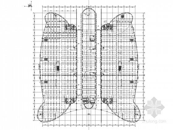 蝴蝶造型财富中心五层框架建筑结构施工图