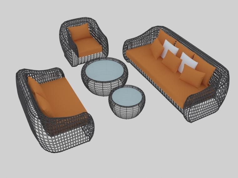藤编沙发组合3D模型下载-藤编沙发组合