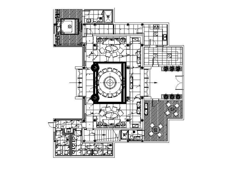 [徐州]新中式豪华机关办事处室内设计施工图(含效果图)