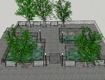 公园休息区景观设计(SU模型)