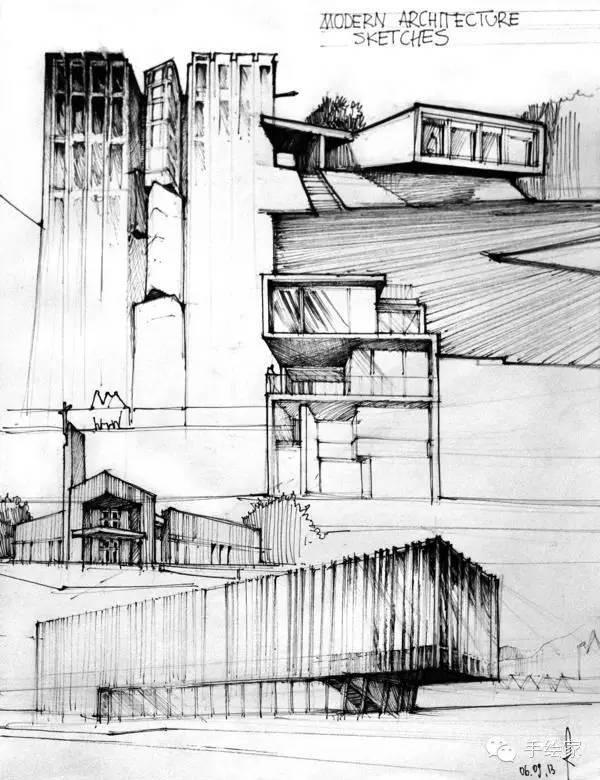 百年经典建筑设计手绘图_5