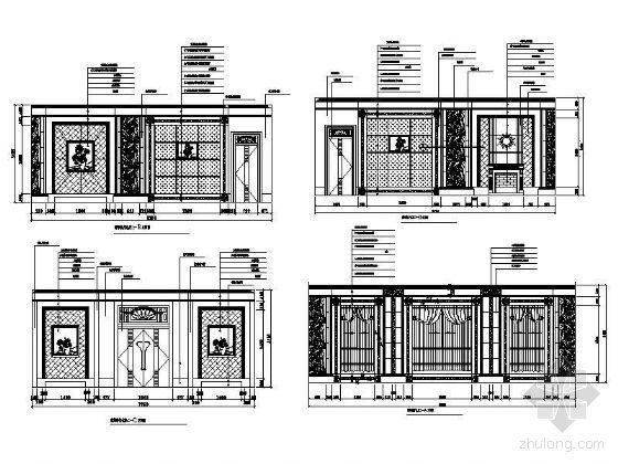 豪华餐厅包房立面设计图