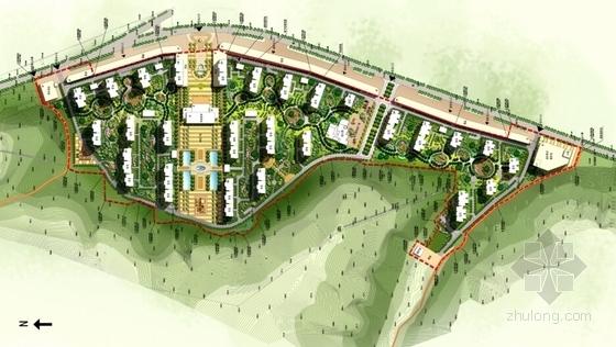 [陕西]artdeco风格住宅小区规划设计方案文本(知名设计院)-artdeco风格住宅小区规划总平面图