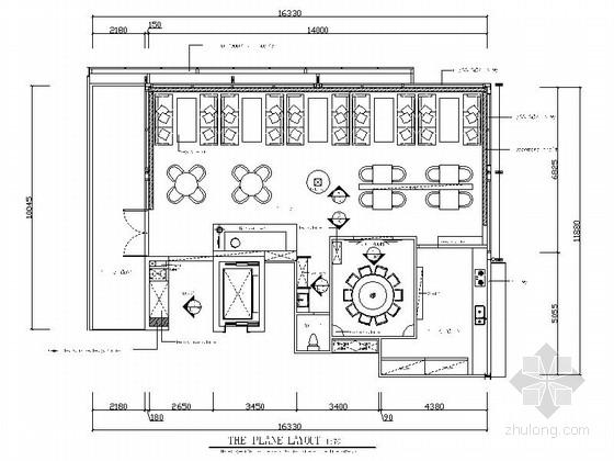 [北京]沉稳现代中式风格餐厅室内装修施工图(含效果)
