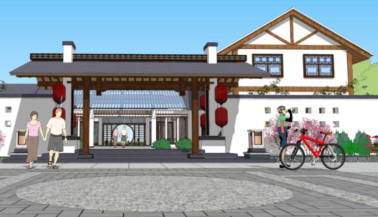 新中式风格古建驿站sketchup模型