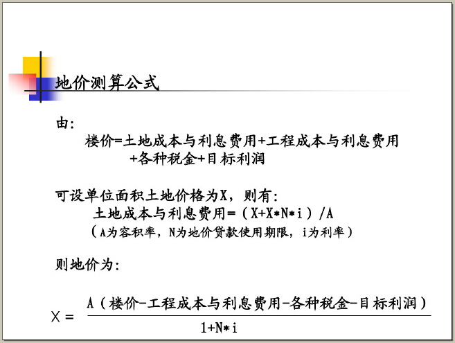房地产开发项目选择和土地使用权获取方式(116页)-地价测算公式