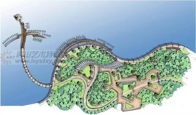 [步骤解析]手绘滨水景观平面