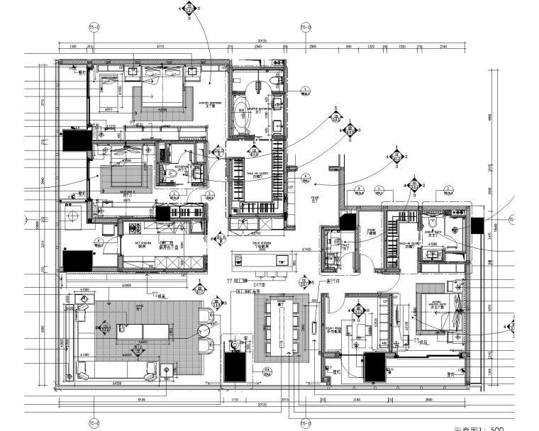 SCDA如恩|华润公寓样板间D户型施工图+效果图+物料表