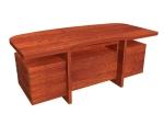 实木办公桌3D模型下载