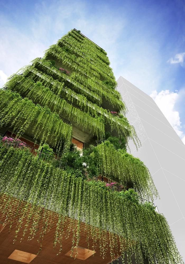 武重义在15米宽场地设计Chic-Land酒店, 129个阳台隐藏在绿植墙后