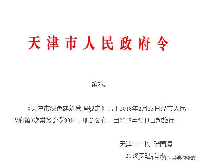 天津市绿色建筑管理规定