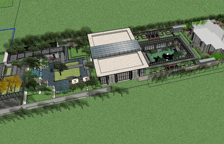 新亚洲展示区精品庭院模型设计(新中式大门)