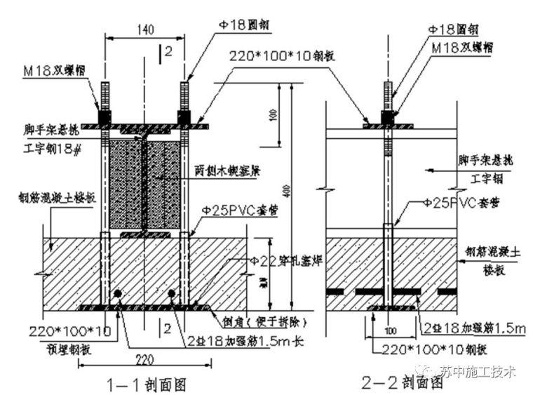 悬挑脚手架悬挑梁组合式锚固固定件施工技术