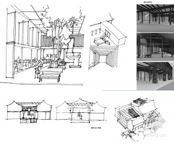 [浙江]水乡古镇国家旅游景区中式风格酒店设计方案图酒吧设计手稿图