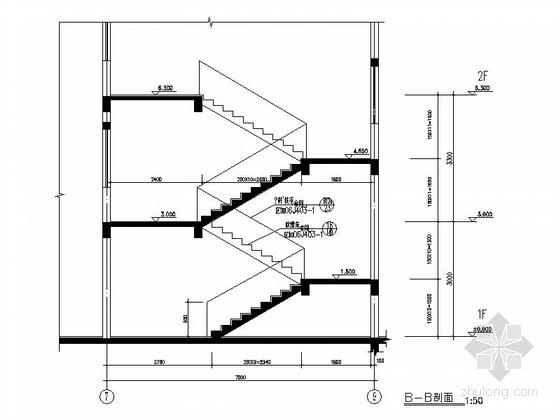 现代风格多层住宅区规划设计楼梯节点图