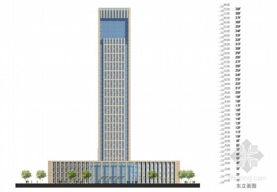 [西安]39层180米办公综合体建筑设计方案文本-39层180米办公综合体剖面图