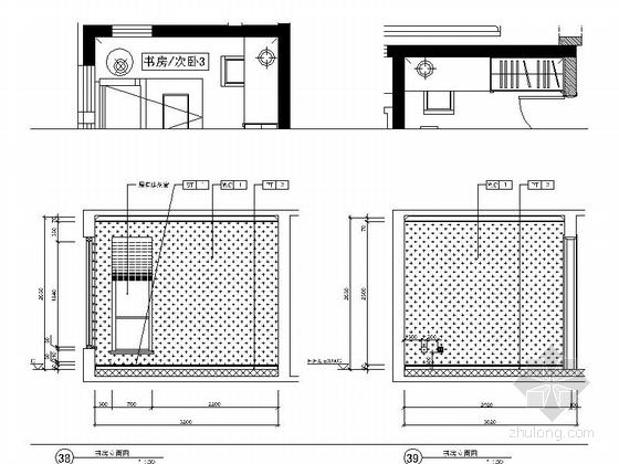 [北京]房山区现代高档四居室样板间装修施工图书房立面图