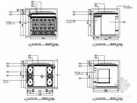 精品豪华欧式风格三层别墅室内装修施工图(含方案效果图)家庭室立面图