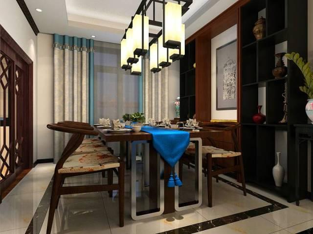 新中式魅蓝轩120平效果图-新中式《魅蓝轩》第2张图片