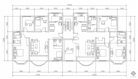多层一梯两户户型图(130/151)