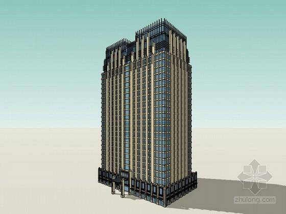 新古典风格办公楼建筑sketchup模型下载