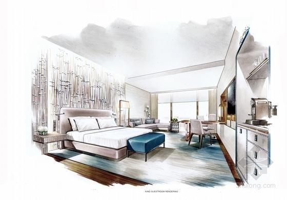 [四川]全球最大酒店客房电梯厅室内装修设计施工图(含方案效果)大床房效果图