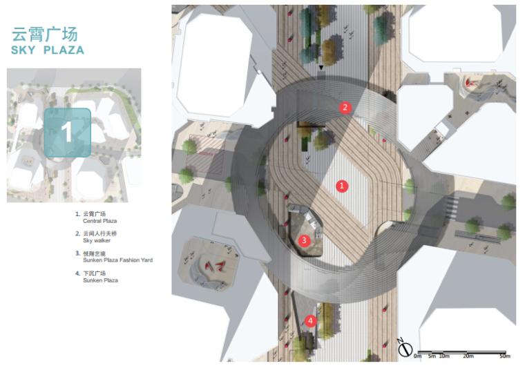 [浙江]休闲开放商业绿地景观概念设计-广场平面图