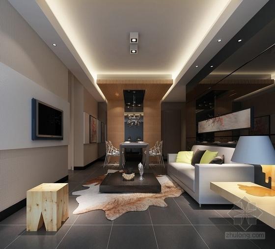 自然现代风格两居室样板房装修图(含效果)客厅效果图
