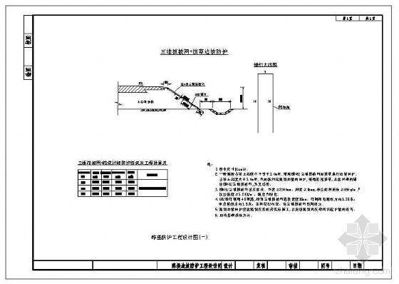 三维植被网+植草路堤边坡防护节点构造详图