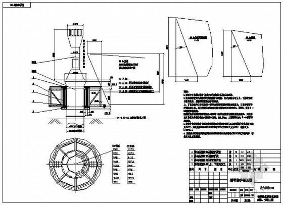 内河单柱式防撞航标结构图
